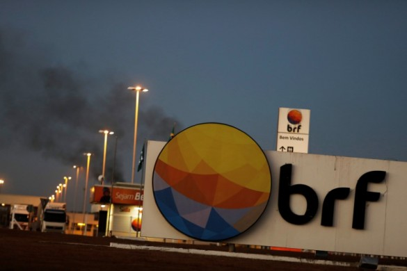 FILE PHOTO: Meatpacking company BRF SA's logo, which is one of the biggest food companies in the world, is pictured in Lucas do Rio Verde, Mato Grosso state, Brazil, July 27, 2017. REUTERS/Nacho Doce