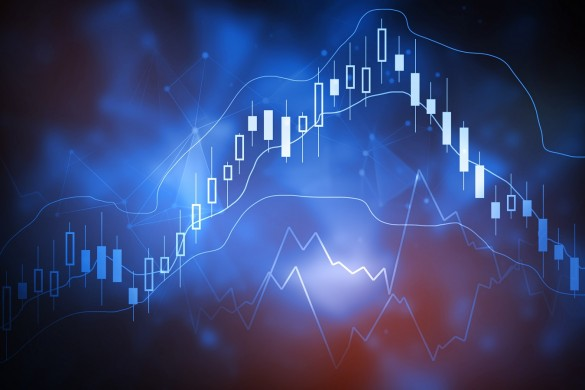 Abstract glowing forex chart interface backdrop. Investment, trade, stock, finance and analysis concept. 3D Rendering