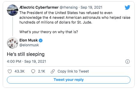 Elon musk zomba de Joe Biden no twitter